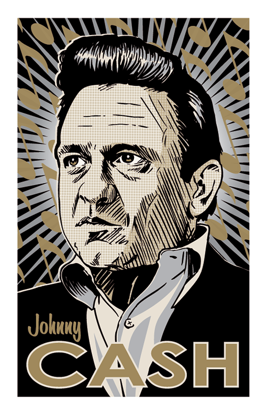 11x17 Johnny Cash Print in Silver and Gold