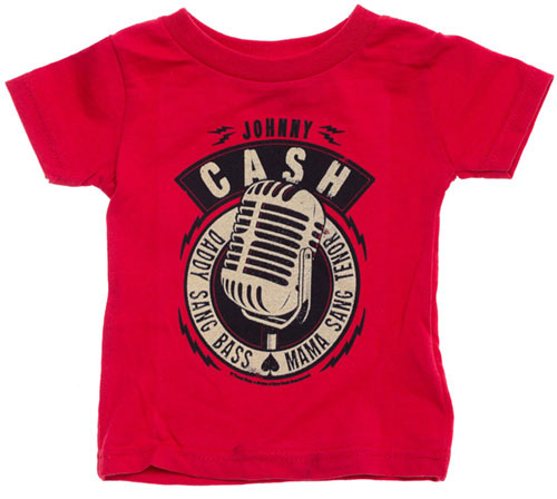 Johnny Cash Daddy Sang Bass Kid's Tee in Red